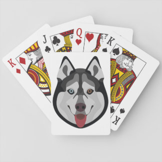 Illustration dogs face Siberian Husky Playing Cards