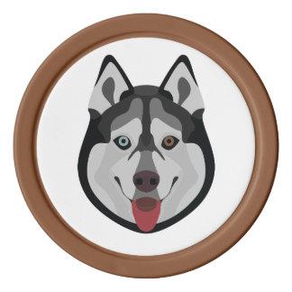 Illustration dogs face Siberian Husky Poker Chips