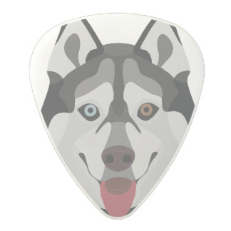 Illustration dogs face Siberian Husky Polycarbonate Guitar Pick