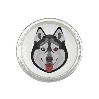 Illustration dogs face Siberian Husky Ring