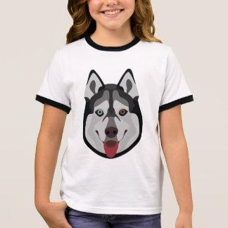 Illustration dogs face Siberian Husky Ringer T-Shirt