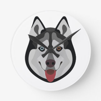 Illustration dogs face Siberian Husky Round Clock