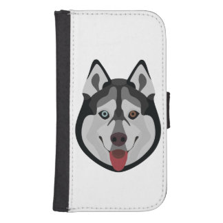 Illustration dogs face Siberian Husky Samsung S4 Wallet Case