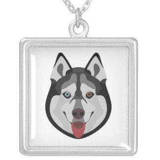Illustration dogs face Siberian Husky Silver Plated Necklace
