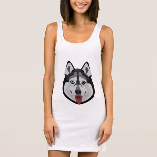 Illustration dogs face Siberian Husky Sleeveless Dress