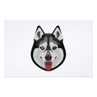 Illustration dogs face Siberian Husky Stationery