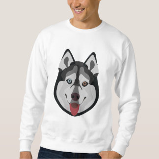 Illustration dogs face Siberian Husky Sweatshirt