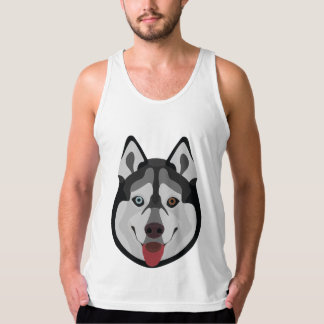 Illustration dogs face Siberian Husky Tank Top