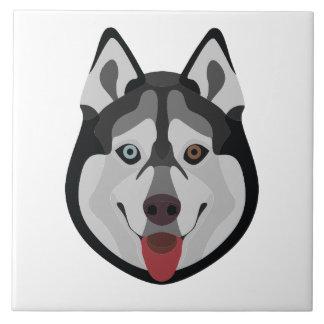Illustration dogs face Siberian Husky Tile
