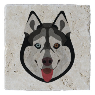Illustration dogs face Siberian Husky Trivet