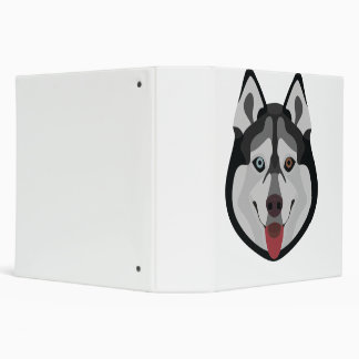 Illustration dogs face Siberian Husky Vinyl Binder
