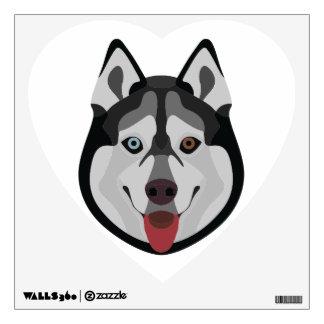 Illustration dogs face Siberian Husky Wall Decal