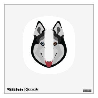 Illustration dogs face Siberian Husky Wall Sticker