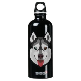 Illustration dogs face Siberian Husky Water Bottle