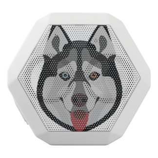Illustration dogs face Siberian Husky White Bluetooth Speaker