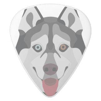 Illustration dogs face Siberian Husky White Delrin Guitar Pick