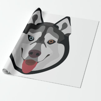 Illustration dogs face Siberian Husky Wrapping Paper