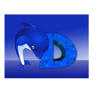Illustration dolphin postcard