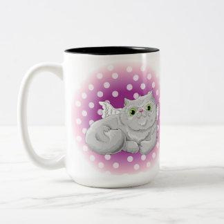 Illustration d'un ange mignon de chat tasse 2 couleurs