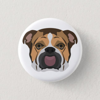 Illustration English Bulldog 1 Inch Round Button