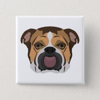 Illustration English Bulldog 2 Inch Square Button