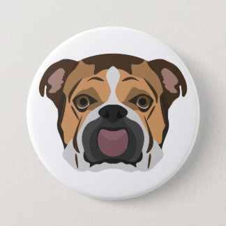 Illustration English Bulldog 3 Inch Round Button
