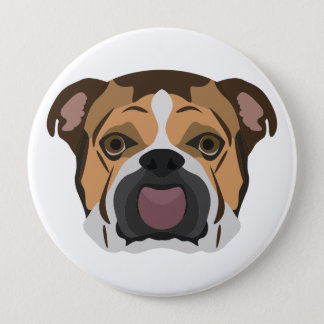 Illustration English Bulldog 4 Inch Round Button