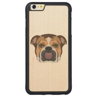Illustration English Bulldog Carved Maple iPhone 6 Plus Bumper Case