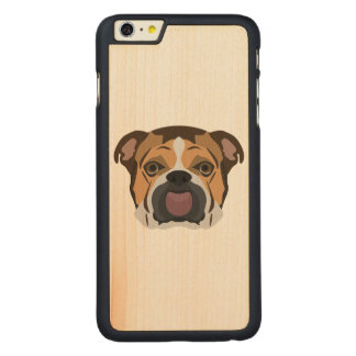 Illustration English Bulldog Carved Maple iPhone 6 Plus Case