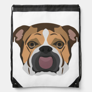 Illustration English Bulldog Drawstring Bag