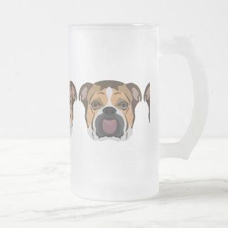 Illustration English Bulldog Frosted Glass Beer Mug