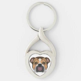 Illustration English Bulldog Keychain