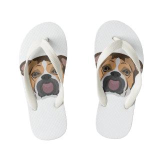 Illustration English Bulldog Kid's Flip Flops