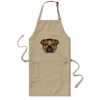 Illustration English Bulldog Long Apron