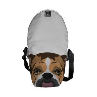 Illustration English Bulldog Messenger Bag