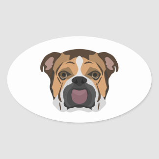 Illustration English Bulldog Oval Sticker
