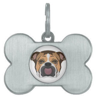 Illustration English Bulldog Pet ID Tag