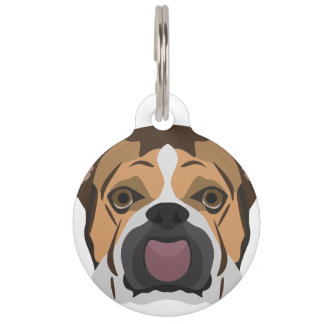Illustration English Bulldog Pet Name Tag