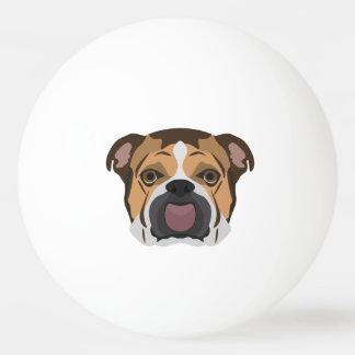 Illustration English Bulldog Ping Pong Ball