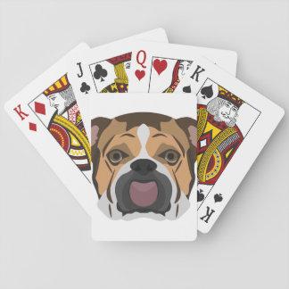 Illustration English Bulldog Playing Cards