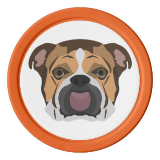 Illustration English Bulldog Poker Chips