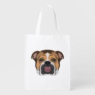 Illustration English Bulldog Reusable Grocery Bag