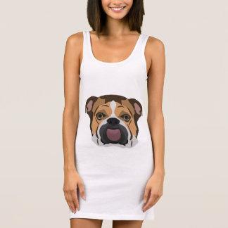 Illustration English Bulldog Sleeveless Dress