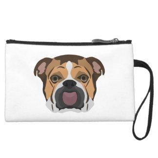 Illustration English Bulldog Suede Wristlet