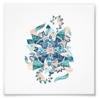 Illustration florale d'aquarelle bleue de corail tirages photo