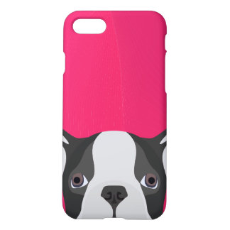 Illustration French Bulldog with pink background iPhone 8/7 Case