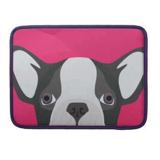 Illustration French Bulldog with pink background Sleeve For MacBooks