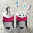 Illustration French Bulldog with pink background Soap Dispenser And Toothbrush Holder
