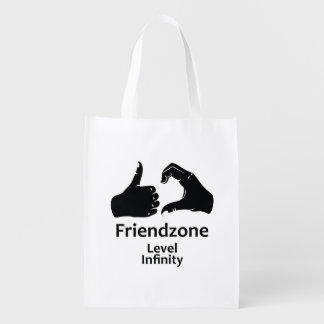 Illustration Friendzone Level Infinity Reusable Grocery Bag