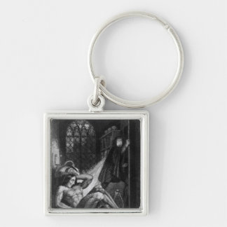 Illustration from 'Frankenstein' Silver-Colored Square Keychain